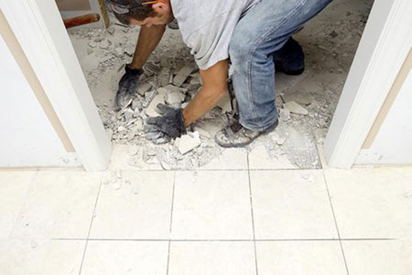 during repair marble floor
